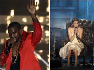 Kanye West, left, and Taylor Swift, who did not perform together, each addressed the 2009 incident, where West interrupted Swift during an acceptance speech, in song.
