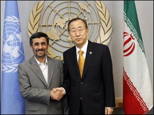 United Nations Secretary-General Ban Ki-moon, right, meets Ahmadinejad.