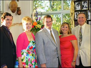 At the Gorskis' Sapphire Ball kick off part were, from left, Dock Treece, Jr., Barbara Baumgartner, Joel and Clare Gorski, and Michael Sordyl.