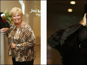 Left, event chairman Kay Berning, left and Jeannie Rerucha during the Ability Center Fashion Show. Right, Emma Oravecz displays a coordinating coat and dress.
