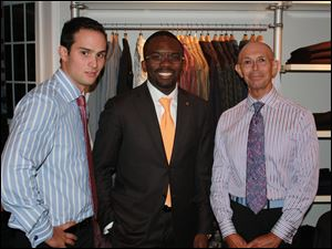 From left, Kyle Pinsonneault, VAlentine Ononye, Daniel Dolce at V-Couture in Perrysburg.