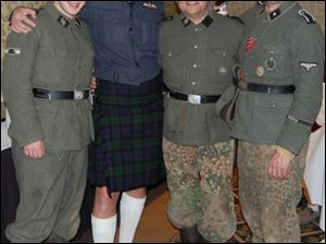 Rich Iott, second from right, in a Nazi Waffen SS uniform.