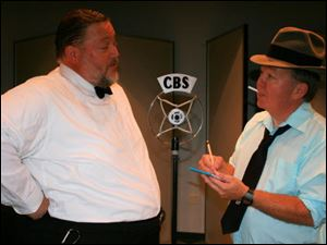 Orson Welles, played by Jeff Smith, left, is interviewed by Carl Phillips, played by Don Dauer, in the Oregon Community Theatre production of 'War of the Worlds.'