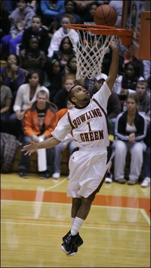 The Falcons' Jordon Crawford goes in for two of his 11 points as Bowling Green pulled away after a tight first half.