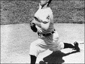 Bob Feller made his debut with the Cleveland Indians at the age of 17. He won 266 games and at one time held the record for strikeouts in a game with 18 and strikeouts in a season with 348. He missed nearly four years serving in the Navy in WWII.