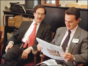 Blade publisher John Robinson Block met with Conde Agustine, the mayor of Toledo, Spain, in 1997.
