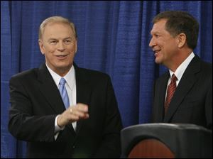 In October, Ohio Gov. Ted Strickland and his Republican challenger John Kasich acknowledged supporters after their debate at the University of Toledo. Mr. Kasich won the election as part of a GOP sweep.