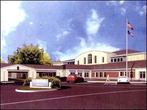 An artist's drawing shows the Veterans Administration clinic planned to be built for northwest Ohio veterans at 1200 South Detroit Ave. on the University of Toledo Health Science Campus.