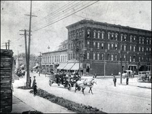 Historic photo of the St. James Hotel, corner of Lagrange and Summit streets.