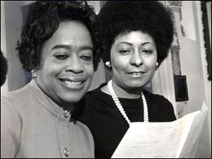 City Council President Wilma Brown, right, shown in 1971 with Eleanor Sanders at a Negro Business and Professional Women's Club event in Toledo, joined a black women's club to find mentors, learn leadership, and maintain her heritage.the blade