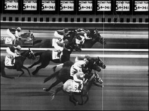 With hundreds, thousands and even hundreds of thousands of dollars on the line, a photo to determine the order of horses finishing the race can be critical, like this April 4, 1961, photo finish at Raceway Park.