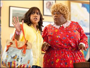 Charmaine (Brandon T. Jackson) and Big Momma (Martin Lawrence) try to adjust to life at a girls' performing arts school in 'Big Mommas: Like Father, Like Son.'