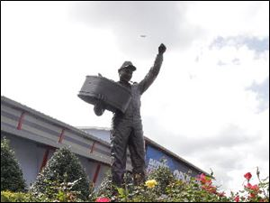 The statue of Dale Earnhardt that stands outside of Daytona International Speedway has been adorned with three small white angel figurines this week by an unknown person. It's just a small reminder that Saturday is the 10th anniversary of the death of the legendary NASCAR driver.