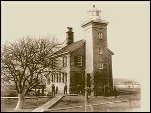 The U.S. government had sold Turtle Island in 1827 but purchased it back in 1831 for improvements. The lighthouse, seen here in 1880, was built in 1831 as the first in Maumee Bay. A new light was placed in service on Sept. 12, 1866, and a fog bell and cisterns were added in 1871.