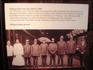 A photograph of a group of Pullman porters is on display at the Heinz History Center in Pittsburgh as part of the exhibit