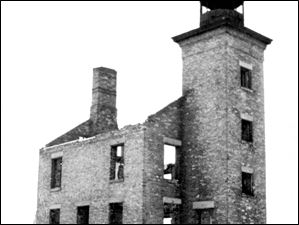 Shipping traffic on Lake Erie was growing significantly in the late 1880s, so the Toledo Harbor light was built in 1904. The Turtle Island lighthouse, seen here in ruins in 1925, was abandoned and the island was put up for public auction.