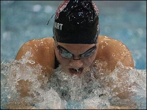 MacKenzie Stewart of Port Clinton swims the final leg of the 100-yard breaststroke event. Stewart placed fourth in the event.