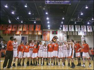 The Bowling Green women's team celebrate its 79-68 victory over Vanderbilt University on Dec. 1, 2010, at Anderson Arena.