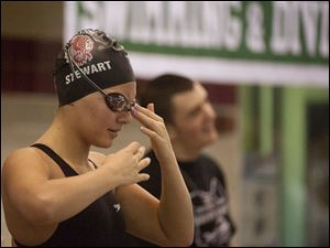 Port Clinton swimmer MacKenzie Stewart prepares for the 200-yard Individual medley.