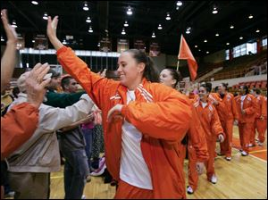 Ali Mann and the rest of the BGSU women's basketball team greet fans March 22, 2007, before departing Anderson Arena to take a charter flight to Greensboro from Toledo Express.