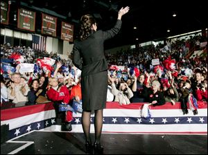 Republican vice presidential candidate Sarah Palin campaigns at Anderson Arena on Oct. 29, 2008.