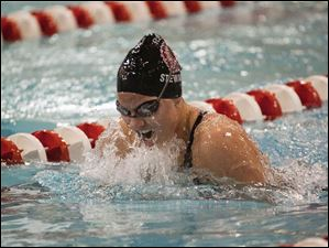 Port Clinton swimmer MacKenzie Stewart swims the breaststroke leg the 200-yard individual medley.