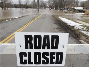 Brookside Drive near Sixth Street was among several streets closed in Findlay, Ohio.