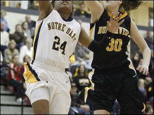 Notre Dame's Cat Wells (24) puts up a shot against Sylvania Northview's Miriam Justinger (30). Wells would score 15 points for the Eagles.