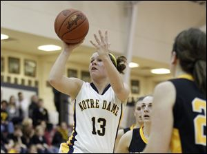 Notre Dame's Chelsey Morlock (13) shoots in Sylvania Northview traffic during the third quarter.