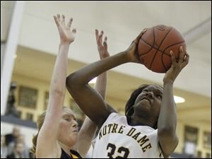 Sylvania Northview player Tori Busby (10) defends Notre Dame Academy player Michelle Holmes (32) during the third quarter.