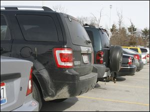 Union-made vehicles parked at McCord Junior High School in Sylvania were outnumbered by non-union vehicles.