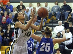 Start player Azia Bishop (50) shoots during the second half against Anthony Wayne.
