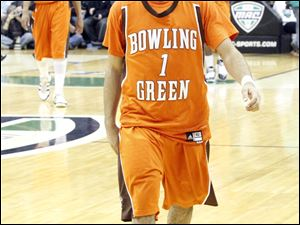 Bowling Green's Jordan Crawford walks off of the court after being defeated by Western Michigan.
