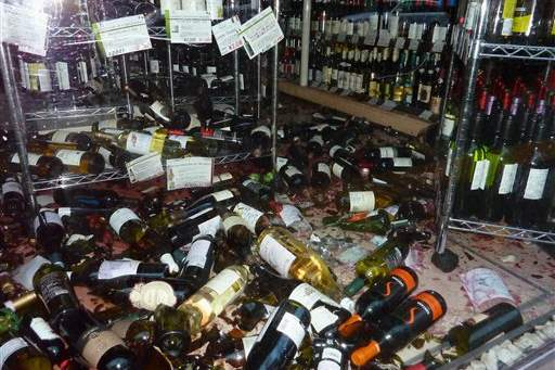 Japan-Quake-broken-bottles