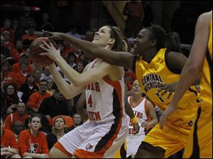 BGSU's Maggie Hennegan is guarded by Central Michigan's Skylar Miller.