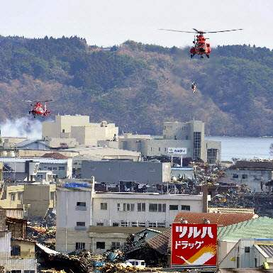 Japan-Aftermath-Kesennuma-fire-department-helicopters