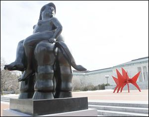 The large Botero 'Europa' sculpture sits outside the Toledo Museum of Art.