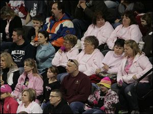 Pink was the color to wear During Pink in the Rink night at the Huntington Center in honor those with cancer.