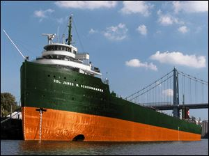 An artist's rendering shows the S.S. Willis B. Boyer after its upgrading is completed decked out in a green and orange paint scheme, trimmed in white, and sporting the Schoonmaker name.