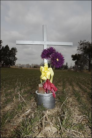 Maureen Huffman placed this cross at Portage River South Road and State Rt. 19 in memory of the crash.