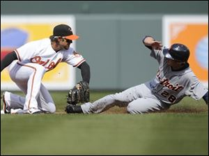 Detroit's Will Rhymes, right, steals second against Baltimore second baseman Brian Roberts, left, during the first inning.