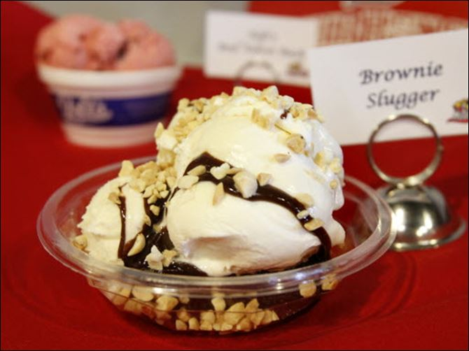 Brownie Slugger Mud Hens The Brownie Slugger is an ice cream sundae available at Fifth Third Field.