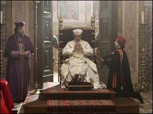Jeremy Irons portrays Rodrigo Borgia, Pope Alexander VI, and Francois Arnaud portrays his son Cesare Borgia, left, in the Showtime original series, 'The Borgias.'