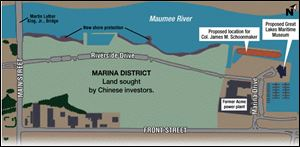 The Dashing Pacific Group, owned by Chinese investors, wants to buy 69 acres within the 125-acre Marina District along the Maumee River in East Toledo for $3.8 million.