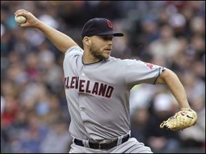 Cleveland starting pitcher Justin Masterson throws against the Seattle Mariners in the first inning.