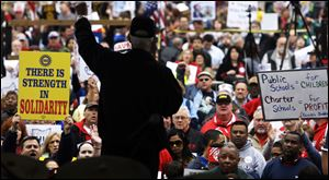 Some 11,000 opponents of Ohio Senate Bill 5 protested outside the Ohio Statehouse on Saturday in another rally.