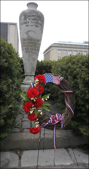 The memorial at the Civic Center Mall behind the Safety Building was established in 1930.