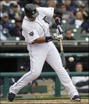 Detroit Tigers first baseman Miguel Cabrera hits a double against the Te