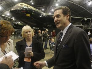 U.S. Rep. Mike Turner (R., Dayton) talks Tuesday about the decision of NASA to not give one of its retired space shuttles to the the National Museum of the U.S. Air Force in Dayton.