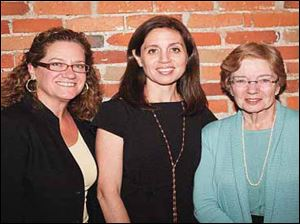 From left, event chairman Meg Ressner, keynote speaker Ninive Calegari, and Dr. Elizabeth Ruppert, honorary chairman, at the Women's Initiative of United Way's anniversary event April 6.